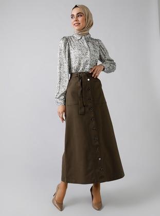 Khaki - Unlined - Denim -  - Skirt