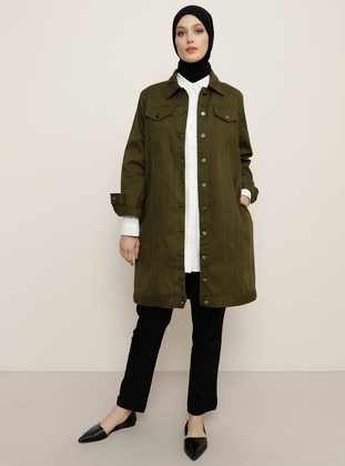 Khaki - Unlined - Point Collar -  - Jacket - Refka