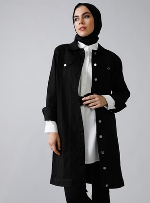 Black - Unlined - Point Collar -  - Jacket - Refka