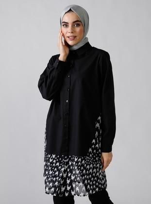 Black - Multi - Point Collar -  - Blouses - Refka