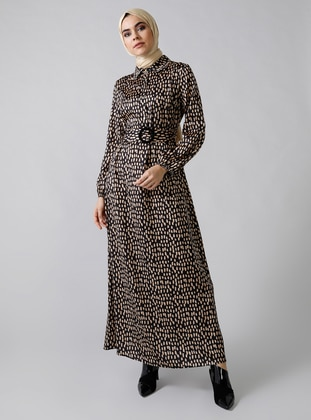 Black - Multi - Leopard - Point Collar - Unlined - Dress