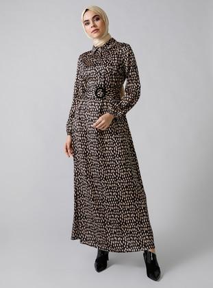 Black - Multi - Leopard - Point Collar - Unlined - Dress