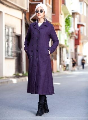 Plum - Unlined - V neck Collar - Coat