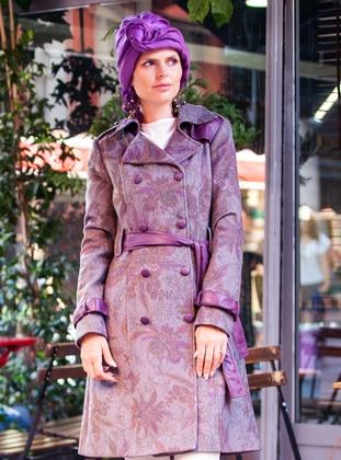 Gray - Plum - Fully Lined - Shawl Collar - V neck Collar - Wool Blend - Coat