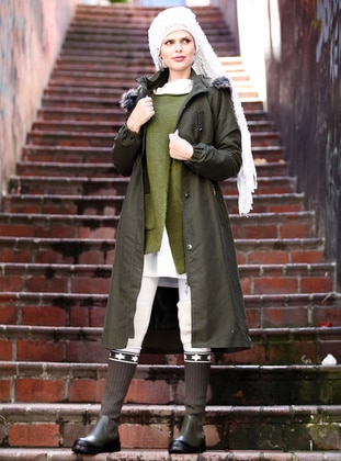 Khaki - Fully Lined -  - Plus Size Overcoat
