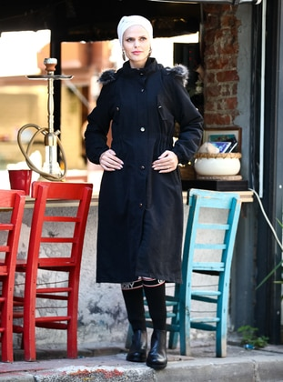 Black - Fully Lined -  - Plus Size Overcoat