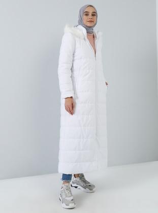 White - Ecru - Unlined - Polo neck - Coat