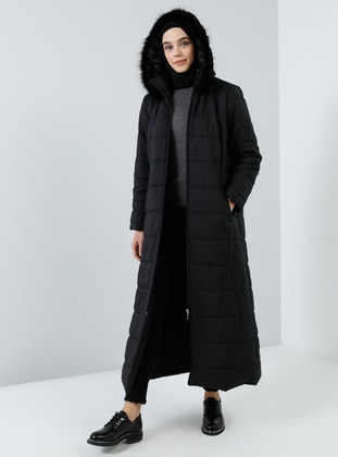Black - Unlined - Polo neck - Coat - Benin