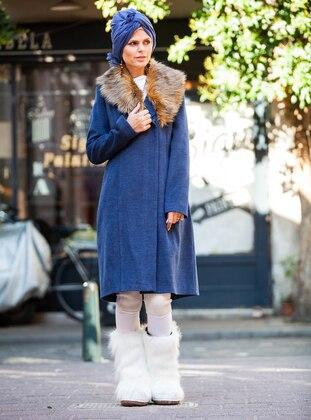 Indigo - Navy Blue - Fully Lined - V neck Collar - Viscose - Coat