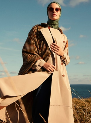 Beige - Unlined - Shawl Collar -  - Trench Coat