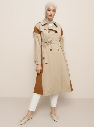 Beige - Unlined - Shawl Collar -  - Trench Coat - Refka