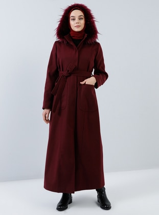 Maroon - Fully Lined - Button Collar - Rayon - Coat