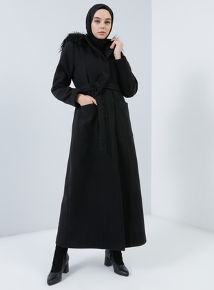 Black - Fully Lined - Button Collar - Rayon - Coat