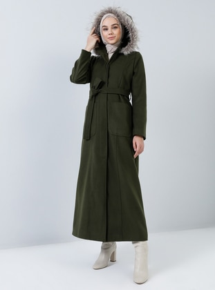 Green - Fully Lined - Button Collar - Rayon - Coat