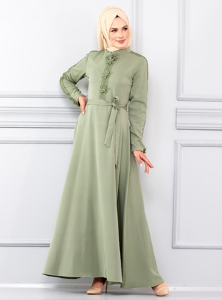 Sea-green - Crew neck - Unlined - Viscose - Dress