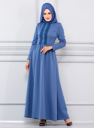 Indigo - Crew neck - Unlined - Viscose - Dress