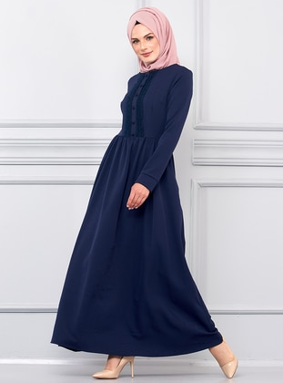 Navy Blue - Crew neck - Unlined - Viscose - Dress