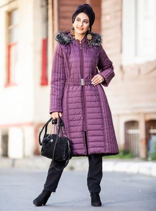 Maroon - Fully Lined - Plus Size Overcoat - Pardesü Dünyası