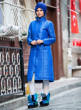 Blue - Fully Lined - Polo neck - Coat