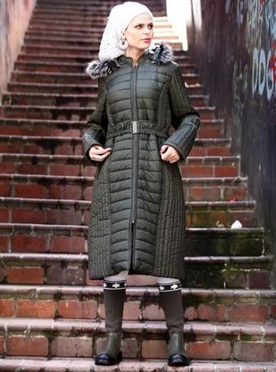 Green - Fully Lined - Plus Size Overcoat - Pardesü Dünyası