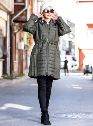 Green - Fully Lined - Plus Size Overcoat - Pardesü Dünyası
