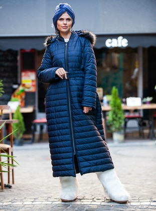 Navy Blue - Fully Lined - Crew neck - Plus Size Coat - Pardesü Dünyası
