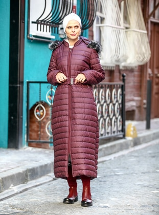 Plum - Fully Lined - Crew neck - Plus Size Coat