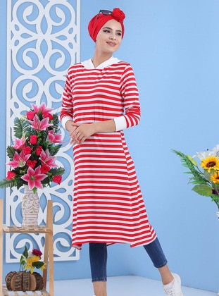 Cotton - Crew neck - Stripe - Red - Sweat-shirt