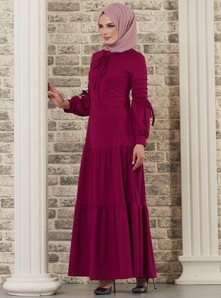 Plum - Crew neck - Unlined - Dress