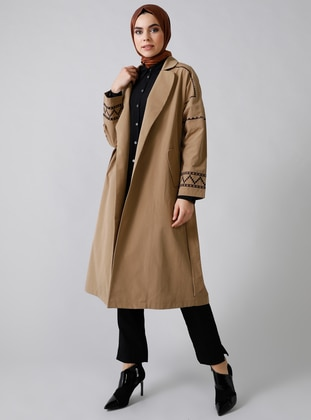 Camel - Unlined - Shawl Collar -  - Trench Coat - Refka