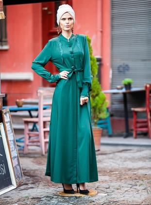 Green - Unlined - Crew neck - Viscose - Topcoat