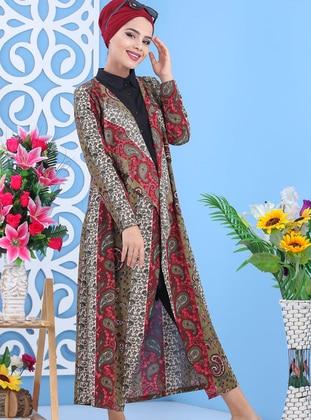 Khaki - Multi - Shawl Collar -  - Viscose - Cardigan