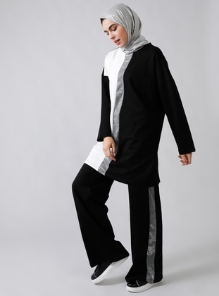 Black -  - Crew neck - Tracksuit Set