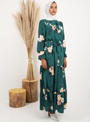 Green - Multi - Unlined - Dress