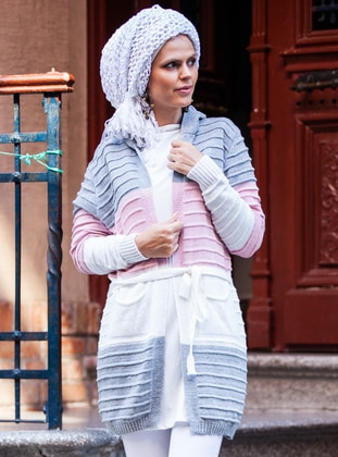 Gray - Acrylic -  - Wool Blend - Cardigan