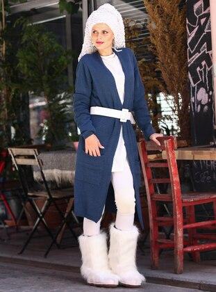 Indigo - Navy Blue - Acrylic -  - Cardigan