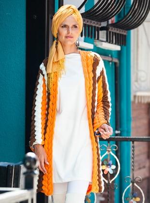 White - Orange - Acrylic -  - Cardigan