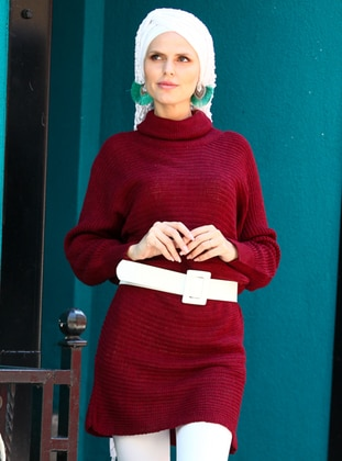Maroon - Polo neck - Acrylic -  -  - Tunic