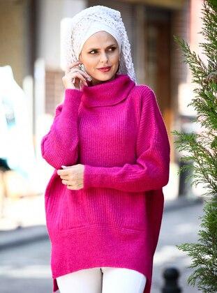 Fuchsia - Pink - Polo neck - Acrylic -  - Tunic