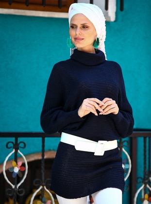 Navy Blue - Polo neck - Acrylic -  -  - Tunic