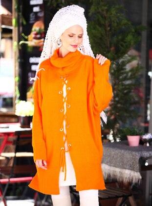 Orange - Polo neck - Acrylic -  -  - Tunic