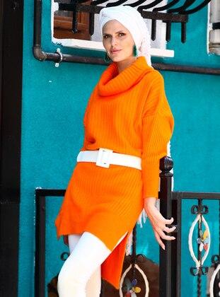 Orange - Polo neck - Acrylic -  - Wool Blend - Tunic