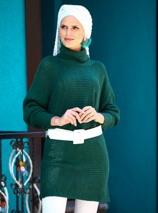 Green - Polo neck - Acrylic -  -  - Tunic