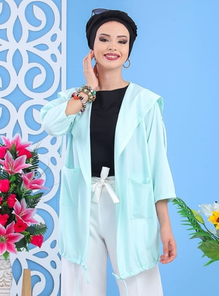 Baby Blue - Floral - Shawl Collar - Tunic