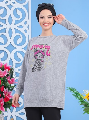 Gray - Crew neck -  - Combed Cotton - Tunic