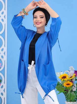 Indigo - Floral - Shawl Collar - Tunic