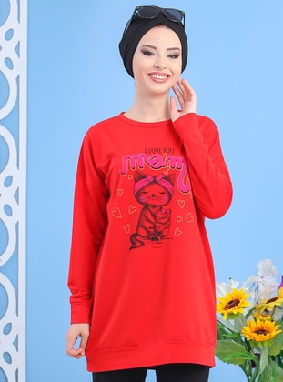 Red - Crew neck -  - Combed Cotton - Tunic