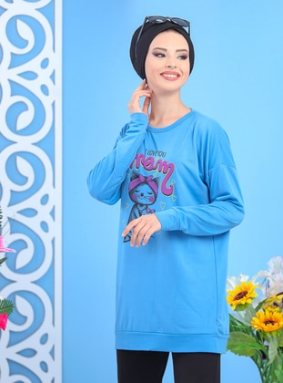 Blue - Crew neck -  - Combed Cotton - Tunic