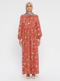 Dusty Rose - Floral - Crew neck - Unlined - Viscose - Dress