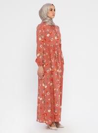 Yaşlı Gül - Çiçekli - Yuvarlak yakalı - Astarsız kumaş - Viskon - Elbise